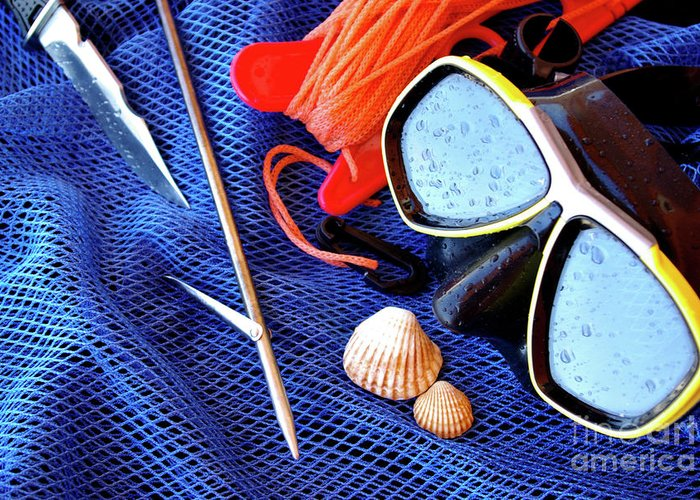 Apnea Greeting Card featuring the photograph Dive Gear by Carlos Caetano