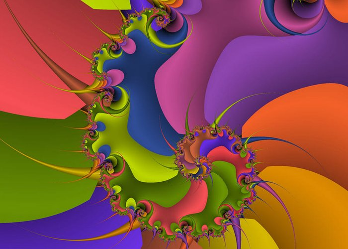 Geometries Greeting Card featuring the digital art Diversion Deviazione by Monica Ghit