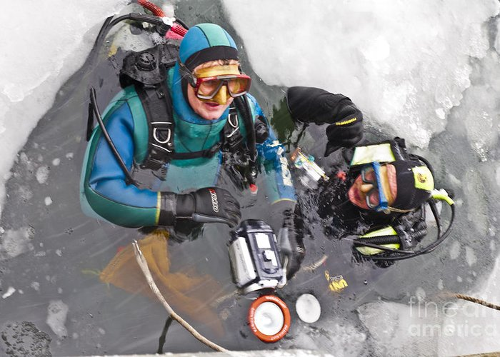 Heiko Greeting Card featuring the photograph Diving In The Ice by Heiko Koehrer-Wagner