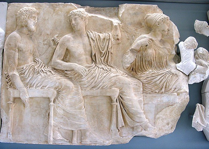 Parthenon Sculptures Greeting Card featuring the photograph Divinities Watching The Procession by Andonis Katanos