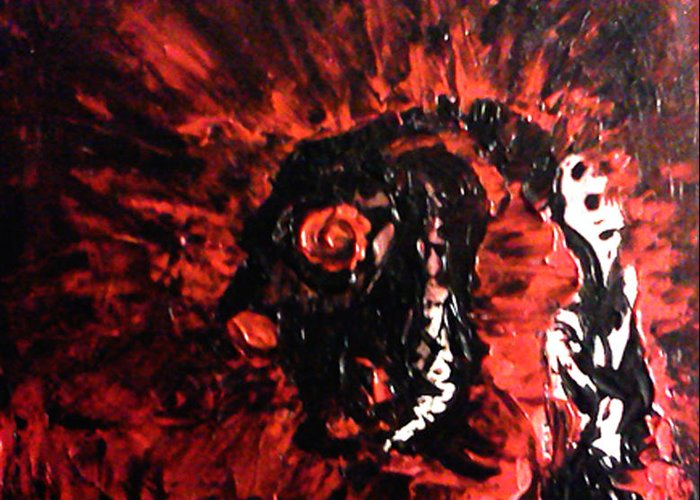 Demon Greeting Card featuring the painting Dizard by Aaron Smith