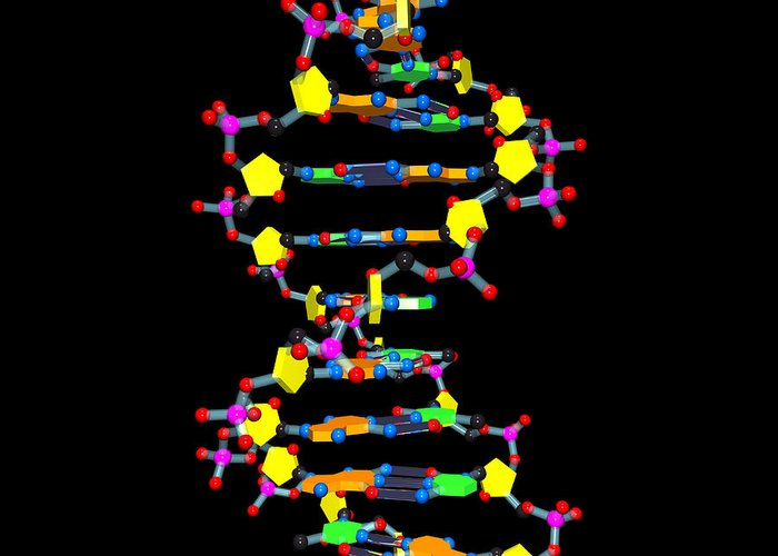 Acid Greeting Card featuring the digital art Dna 37 Black by Russell Kightley