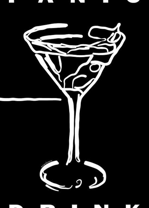 Alcohol Greeting Card featuring the photograph Do Not Panic - Drink Martini - Black by Wingsdomain Art and Photography