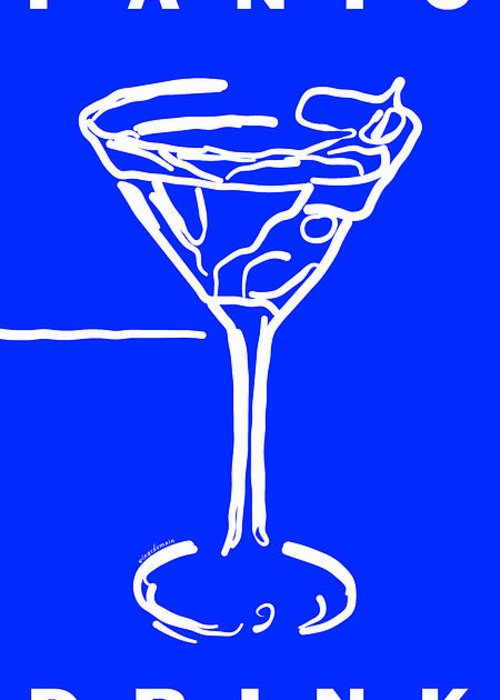 Alcohol Greeting Card featuring the photograph Do Not Panic - Drink Martini - Blue by Wingsdomain Art and Photography