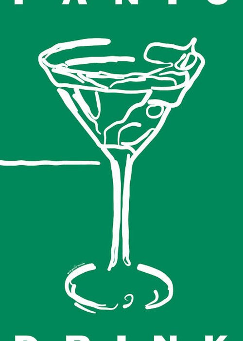 Alcohol Greeting Card featuring the photograph Do Not Panic - Drink Martini - Green by Wingsdomain Art and Photography