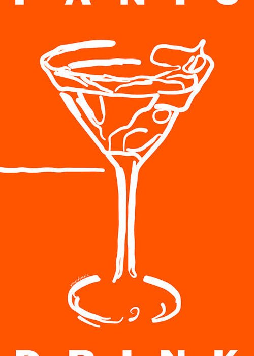 Alcohol Greeting Card featuring the photograph Do Not Panic - Drink Martini - Orange by Wingsdomain Art and Photography