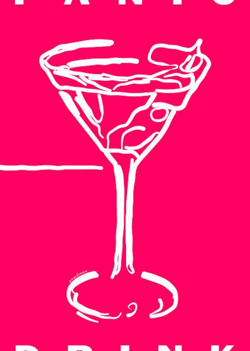 Alcohol Greeting Card featuring the photograph Do Not Panic - Drink Martini - Pink by Wingsdomain Art and Photography