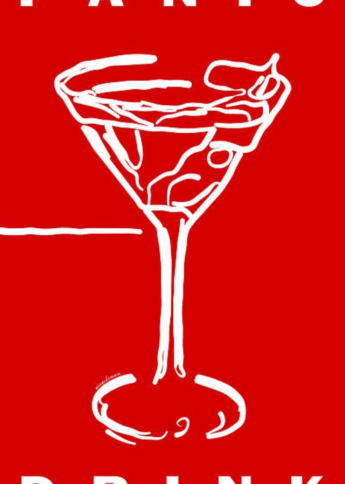 Alcohol Greeting Card featuring the photograph Do Not Panic - Drink Martini - Red by Wingsdomain Art and Photography