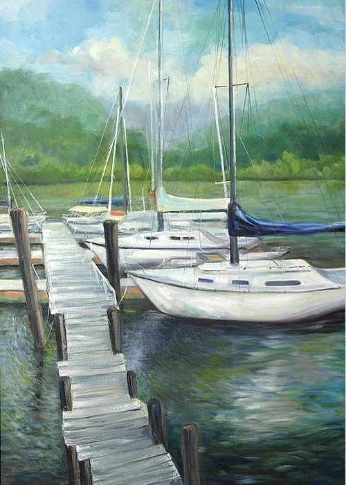 Sail Boats At The Dock In Winter Months. Greeting Card featuring the painting Dock Side by Max Mckenzie