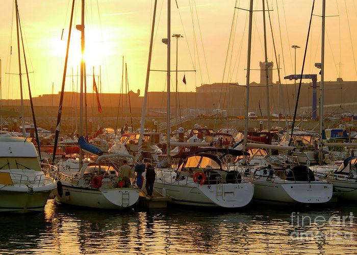 Anchor Greeting Card featuring the photograph Docked Yachts by Carlos Caetano