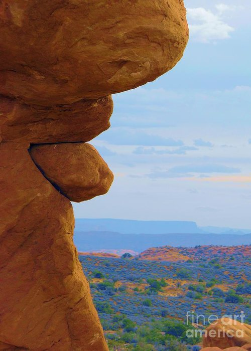 Sand Sonte Natural Sculpture Iin Arches National Monumnet Moab Utah Rock Looks Like Tongue In Profile Humrous In Nature Pastel Background Natural Scernery Surrealism In Nature Wind Errosion Southwestern Art Greeting Card featuring the digital art Does God Have A Sense Of Humor by Annie Gibbons
