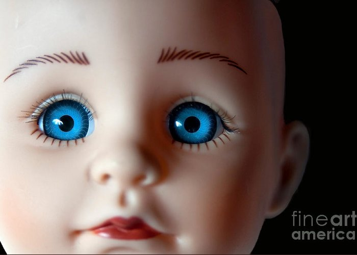 Doll Greeting Card featuring the photograph Doll Eyes by Dan Holm