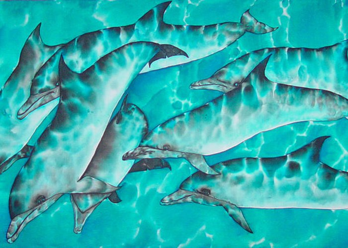Dolphin Painting Greeting Card featuring the painting Dolphin Pod by Daniel Jean-Baptiste