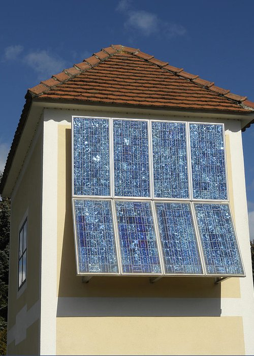 Building Greeting Card featuring the photograph Domestic Solar Panel by Friedrich Saurer