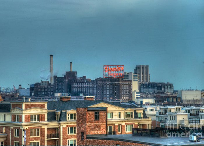 Tonemapped Greeting Card featuring the photograph Domino Sugars Sign Day by Mark Dodd