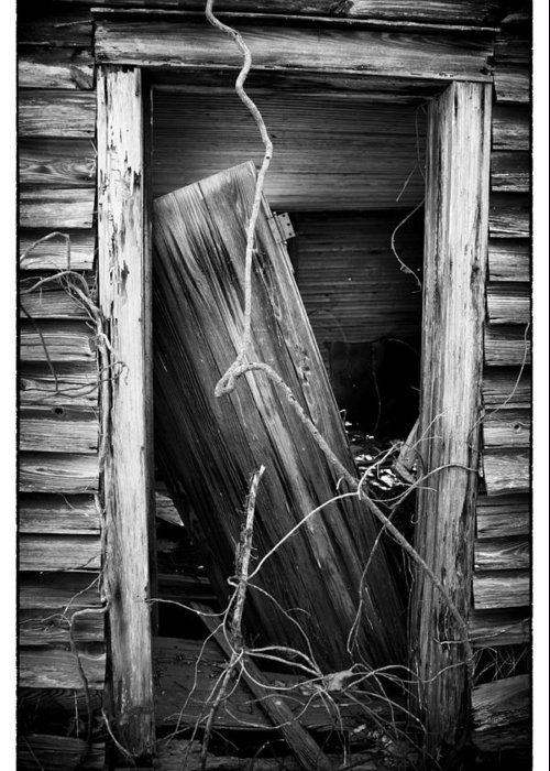 Rockingham County Greeting Card featuring the photograph Door Bw by Mark Wagoner