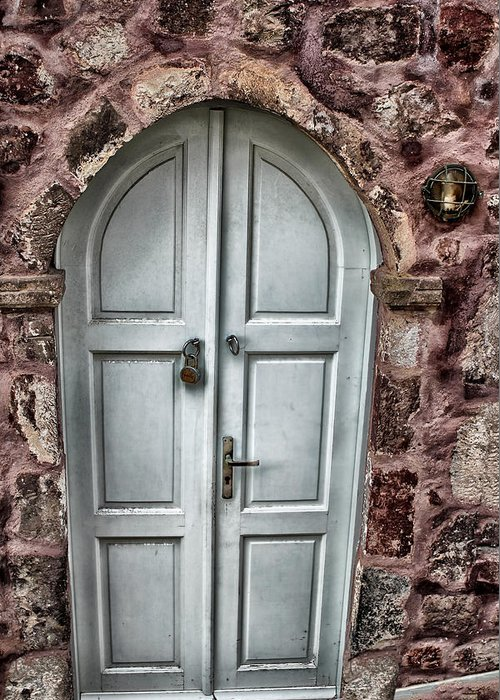 Europe Greeting Card featuring the photograph Door In Santorini by Tom Prendergast