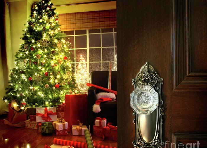 Background Greeting Card featuring the photograph Door Opening Into A Christmas Living Room by Sandra Cunningham