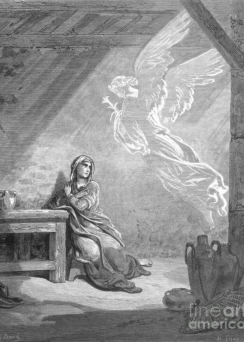 Annunciation Greeting Card featuring the photograph Dor�: The Annunciation by Granger