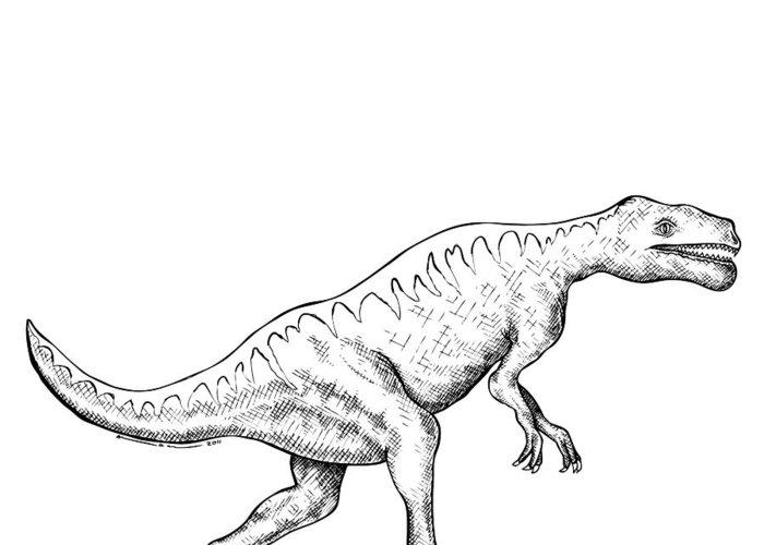 Cartoon Greeting Card featuring the drawing Dorkosaurus - Dinosaur by Karl Addison