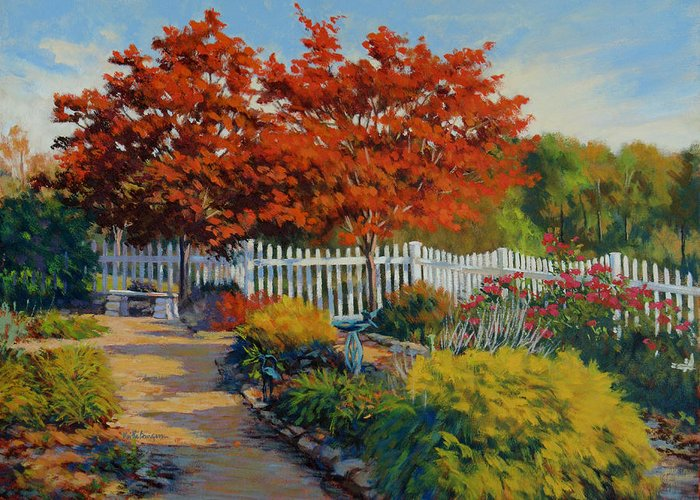 Impressionism Greeting Card featuring the painting Dotti's Garden Autumn by Keith Burgess