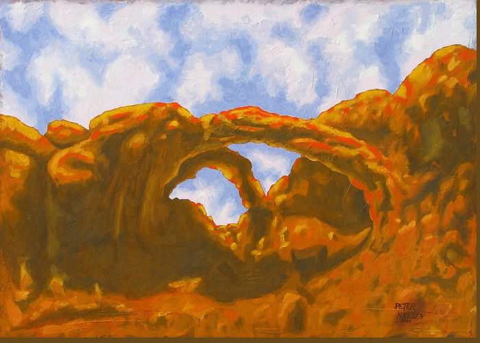 Oil Painting Greeting Card featuring the painting Double Arch by Peter Nielsen