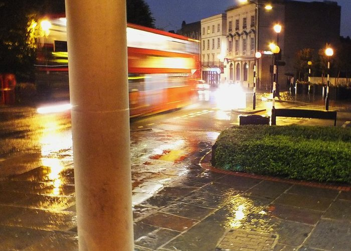 Double Decker Bus Greeting Card featuring the photograph Double Decker Blur In The Rain by Anna Villarreal Garbis