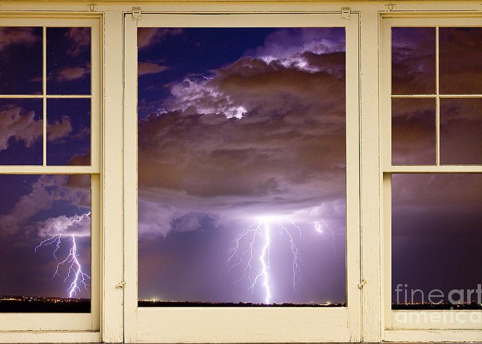 Windows Greeting Card featuring the photograph Double Lightning Strike Picture Window by James BO Insogna