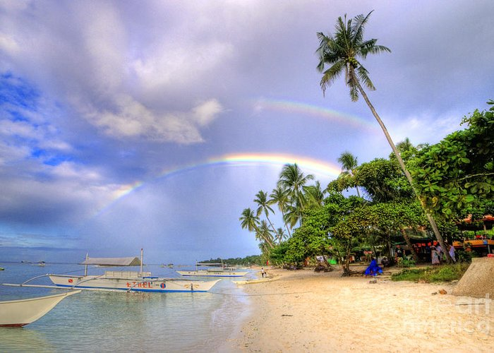 Yhun Suarez Greeting Card featuring the photograph Double Rainbow At The Beach by Yhun Suarez
