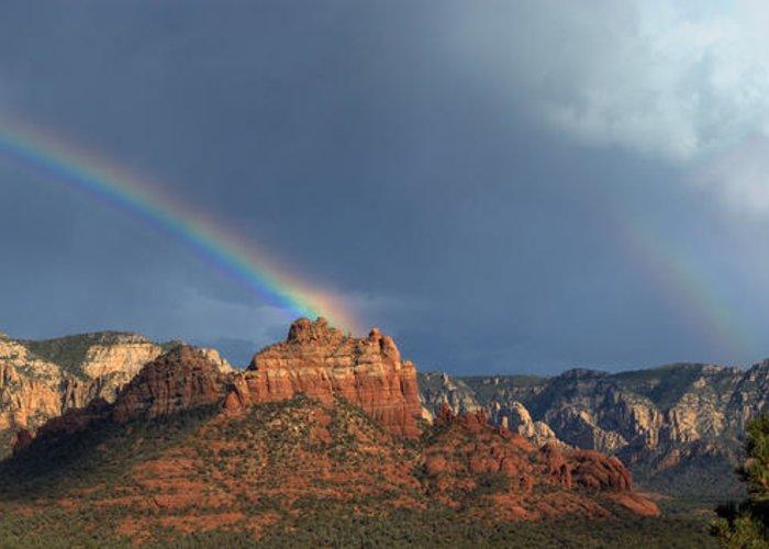 Double Rainbow Over Sedona Greeting Card featuring the digital art Double Rainbow Over Sedona by Dan Turner