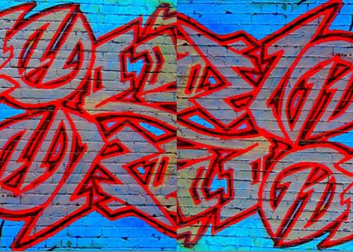 Street Art Greeting Card featuring the digital art Double Trouble by Randall Weidner