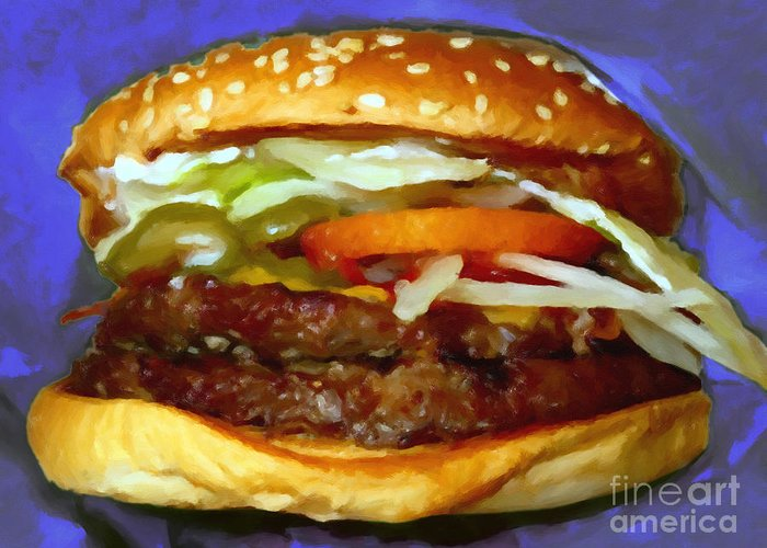 Mcdonald Greeting Card featuring the photograph Double Whopper With Cheese And The Works - V2 - Painterly - Purple by Wingsdomain Art and Photography
