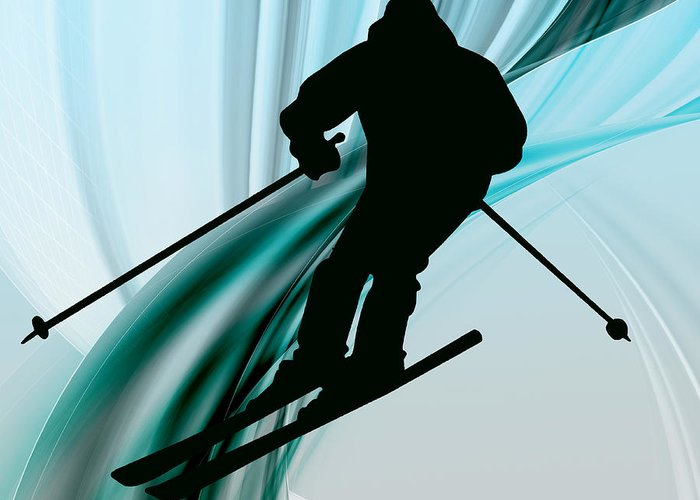 Ski Greeting Card featuring the painting Downhill Skiing On Icy Ribbons by Elaine Plesser