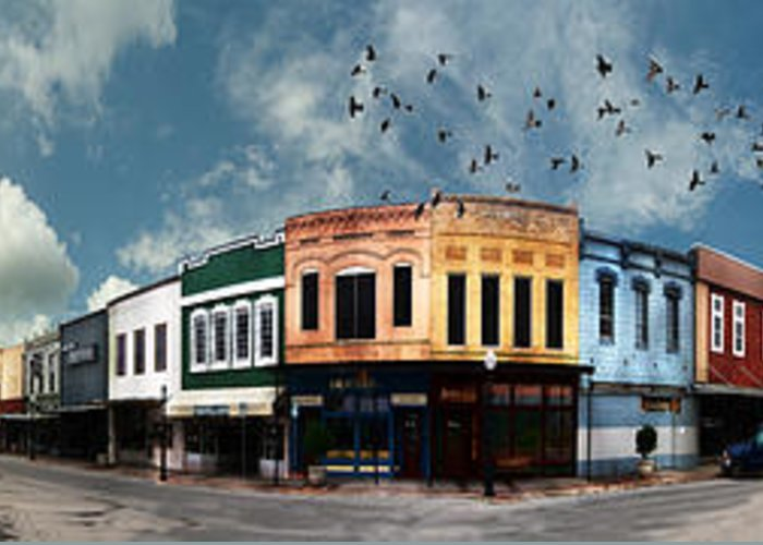 Bryan Greeting Card featuring the photograph Downtown Bryan Texas Panorama 5 To 1 by Nikki Marie Smith