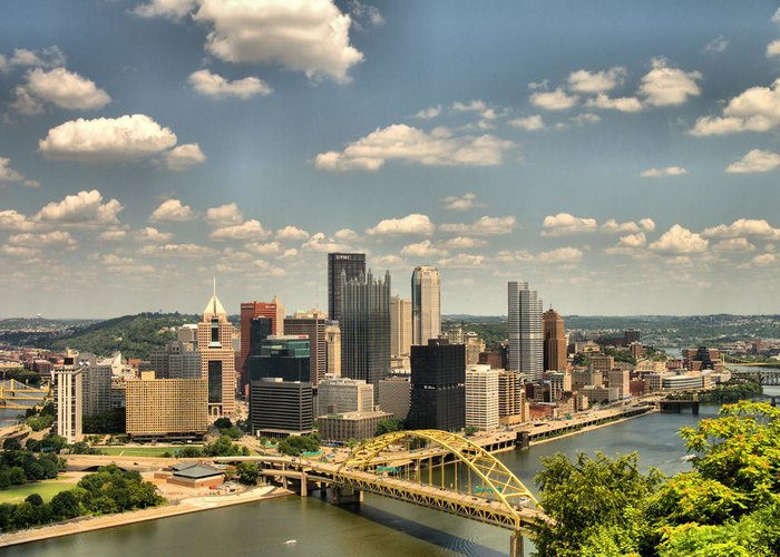 Hdr Greeting Card featuring the photograph Downtown Pittsburgh Hdr by Arthur Herold Jr