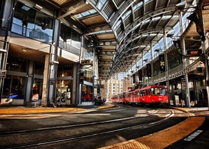 Greeting Card featuring the photograph Downtown San Diego Trolley Station by Larry Marshall