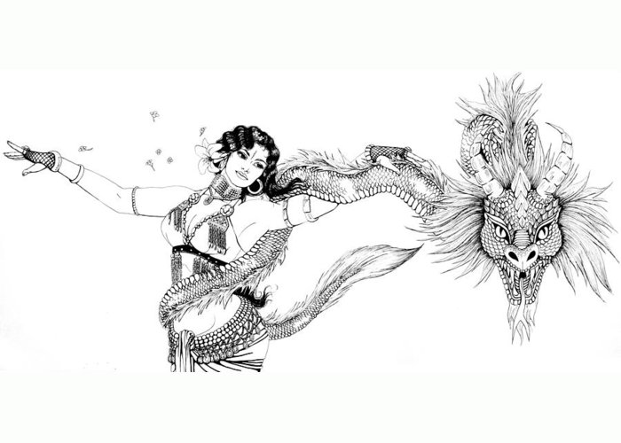 Dragon Greeting Card featuring the drawing Dragon Dancer by Scarlett Royal