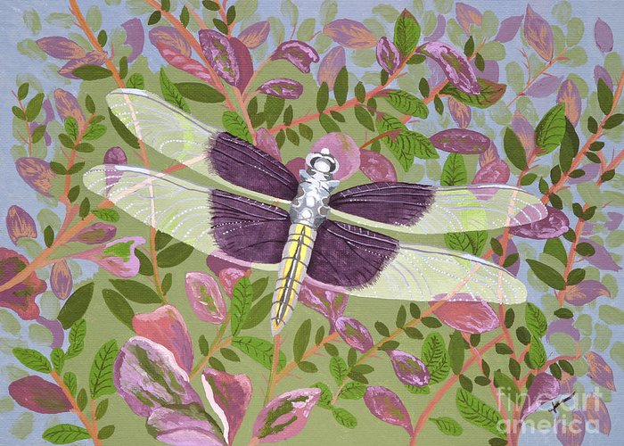 Dragonfly Greeting Card featuring the painting Dragonfly I by Jennifer Donald