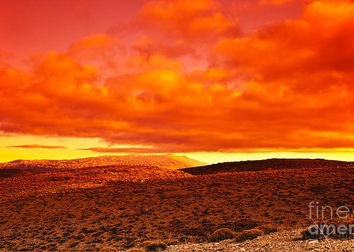 Africa Greeting Card featuring the photograph Dramatic Red Sunset At Desert by Anna Om