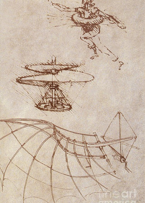 People Greeting Card featuring the photograph Drawings By Leonardo Divinci by Science Source