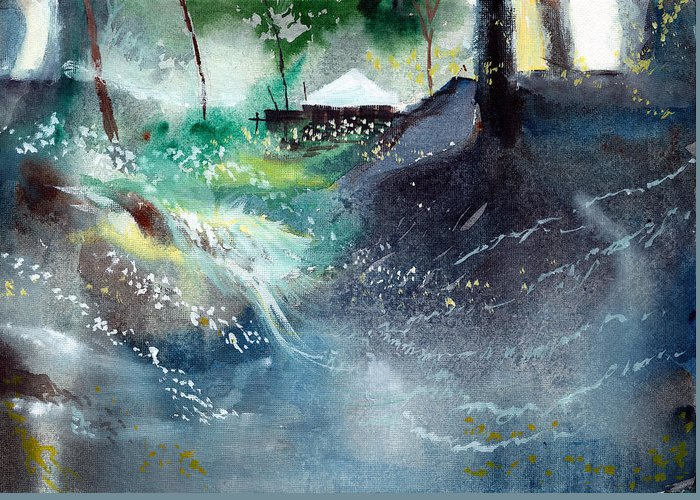 Nature Greeting Card featuring the painting Dream House 2 by Anil Nene