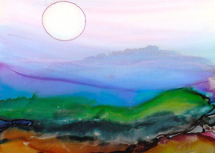 Alcohol Ink Greeting Card featuring the painting Dreamscape No. 119 by June Rollins