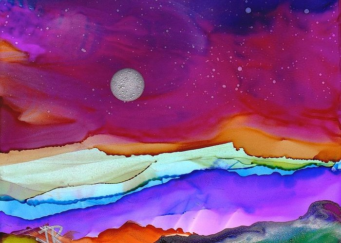 Alcohol Ink Greeting Card featuring the painting Dreamscape No. 160 by June Rollins