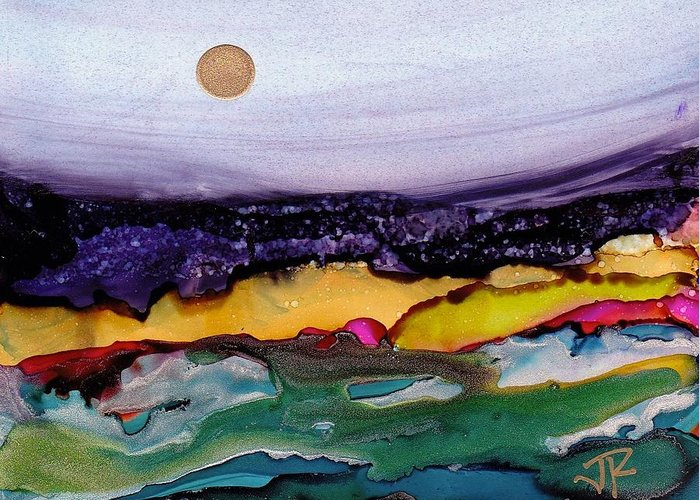 Alcohol Ink Greeting Card featuring the painting Dreamscape No. 165 by June Rollins