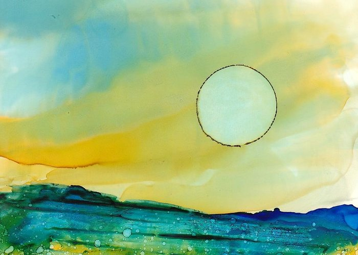 Alcohol Ink Greeting Card featuring the painting Dreamscape No. 181 by June Rollins