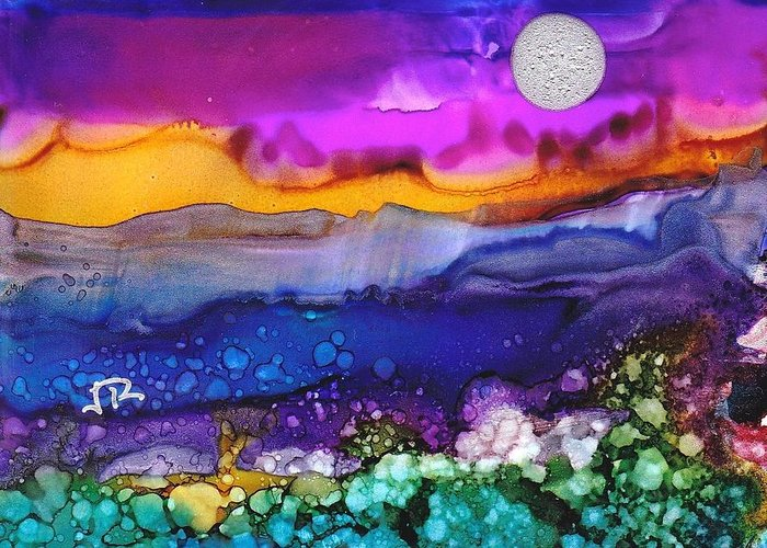 Alcohol Inks Greeting Card featuring the painting Dreamscape No. 188 by June Rollins