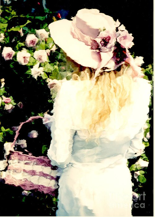Cottage Garden Prints Greeting Card featuring the photograph Dreamy Cottage Chic Girl Holding Basket Roses by Kathy Fornal