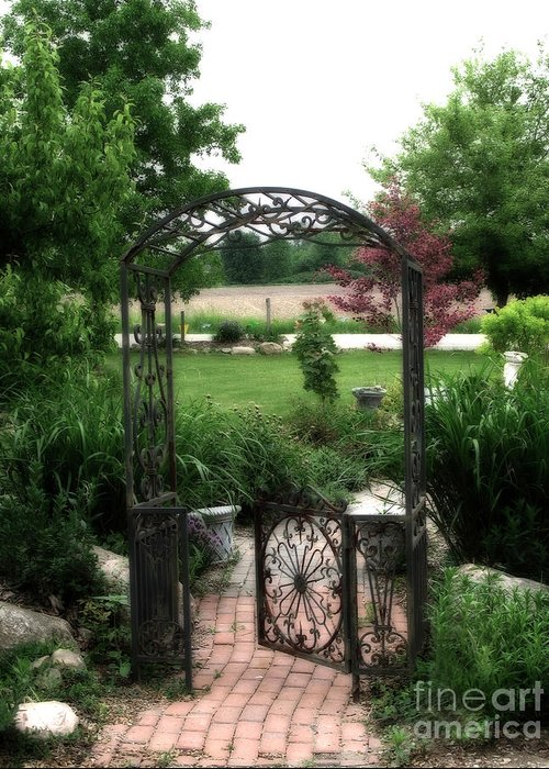 Dreamy French Garden Greeting Card featuring the photograph Dreamy French Garden Arbor And Gate by Kathy Fornal