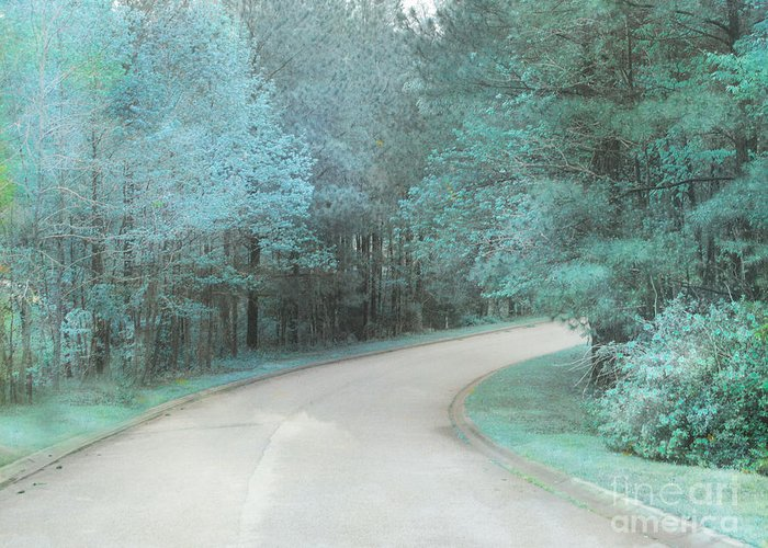 Surreal Landscape Greeting Card featuring the photograph Dreamy Teal Aqua Blue Nature Trees by Kathy Fornal