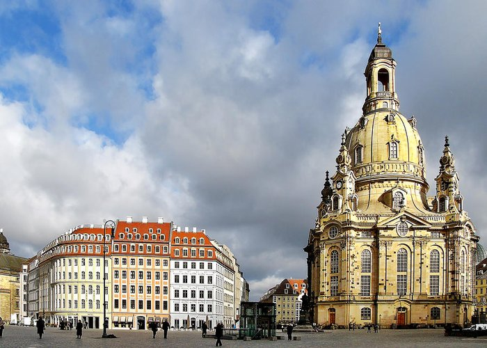 Temples Greeting Card featuring the photograph Dresden Church Of Our Lady And New Market by Christine Till